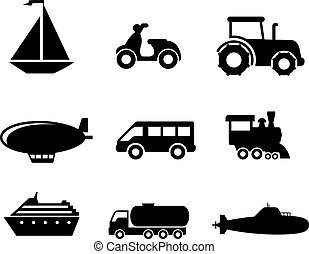 Transport icons set - Collection of transport icons...