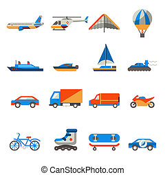 Transport icons set with ship truck helicopter isolated...