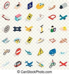 Transport icons set, isometric style