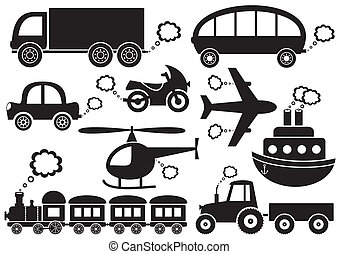 Transport icons - set of black transport icons on white...
