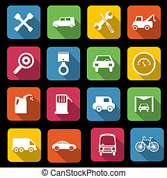 Transport icons - set of sixteen different transport and ...