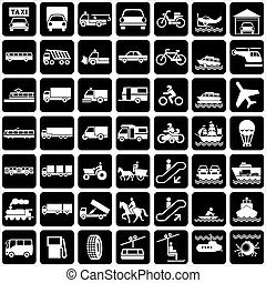 set of vector silhouette of icons with various symbols transports.