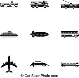 Transport icons set, simple style
