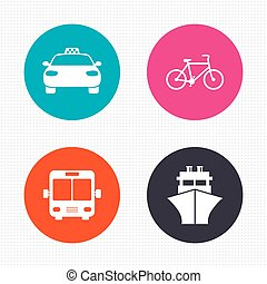 Transport icons. Taxi car, Bicycle, Bus and Ship - Circle ...