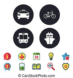 Transport icons. Taxi car, Bicycle, Bus and Ship.