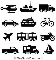 transport, ikon, sätta