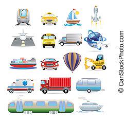 transport, ikon, sæt