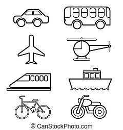 transport, ikon, sæt, vektor