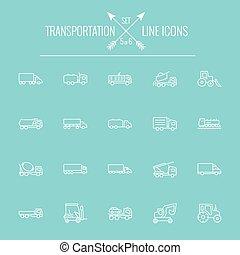 transport, ikon, set.