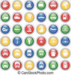 transport, ikonen, sätta