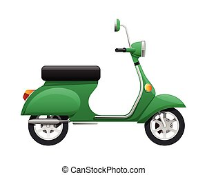 Transport. Illustration of Isolated Green Scooter - ...