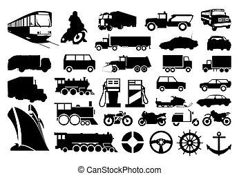 transport., ilustracja, sylwetka, wektor, różny, zbiór