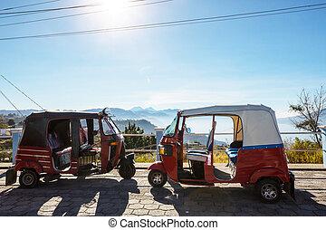 Transport in Guatemala - Tuk tuk vehicle in Atitlan lake,...