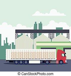 transport industriel, récipient, logistique, camion