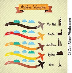 Transport Infographics, cretro colors airport information. ...