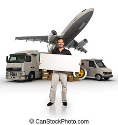 Transport information - A man holding a blank message board ...
