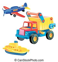 Transport infrastructure concept - toy ship, truck and plane, white background