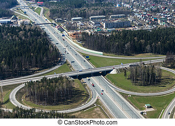 Transport intersection - Aerial view of a transport...