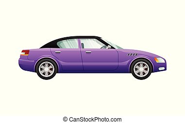 Transport. Isolated Violet Classic Automobile