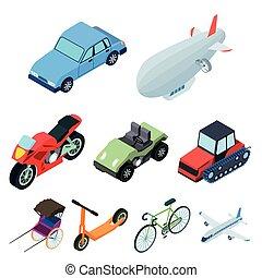 transport., isometric, komplet, illustration., ludzie, use.transportation, symbol, styl, zbiór, powietrze, wektor, woda, ikona, ziemia, rysunek, maszyny, pień