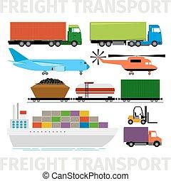 transport, køretøjene, flyvemaskine, og, tog, lastbil, hos, anhængeren, skib, vektor, illustration