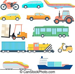 transport, lejlighed, icon., perfekt, lejlighed, automobilen, skib, og, flyvemaskine, icons., vektor, illustration