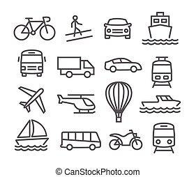 transport, ligne, icônes