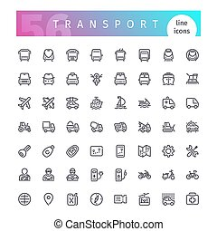 Transport Line Icons Set