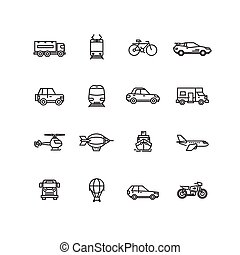 Transport line icons vector set