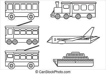 transport., linea, pubblico, icone