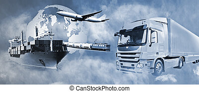 Transport of goods by truck, boat, plane and train.