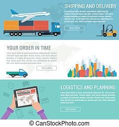 transport, logistique, trois, bannières