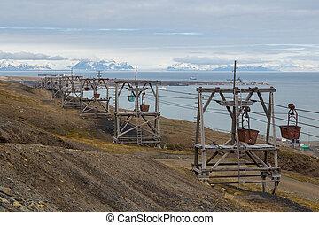transport, longyearbyen, charbon, (taubane), construction, ancien