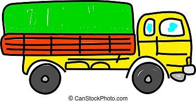 lorry - transport lorry isolated on white drawn in toddler ...