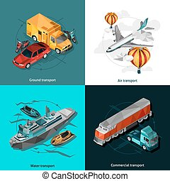 Transport Low Polygonal Icons Set