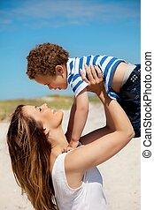 transport, mamusia, młody, jej, syn