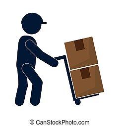 transport, mann, kasten, arbeitende