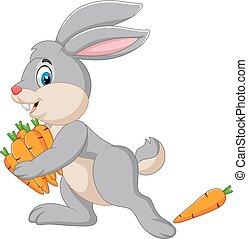 transport, marchew, rysunek, królik