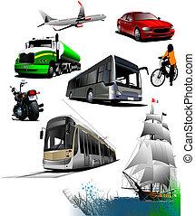 transport., minden, vektor, kinds, ábra