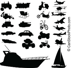 transport mix vector silhouettes