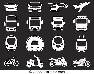 Transport mode icons - Vector illustration of simple...