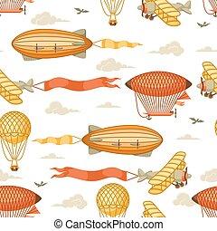 transport., model, luchtschip, hemel, seamless, bewolkt,...