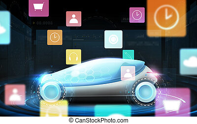 futuristic concept car with virtual menu icons