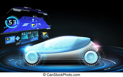 futuristic concept car with gps navigator