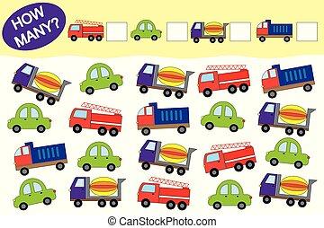transport., onderwijs, illustration., voorwerpen, velen, hoe, spel, vector, children.