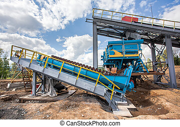 Processing Plant of manganese mine and mechanical processing used to transport ore