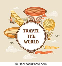 transport., ouderwetse , luchtschip, hemel, zeppelin,...