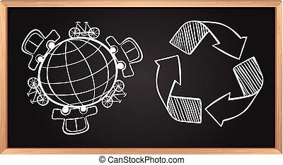 transport, på, jord, og, genbrug, tegn, planke på