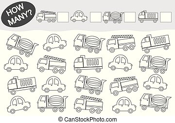 transport., pédagogique, coloration, game., book., activité, children., dénombrement