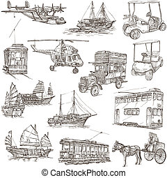 Transport and Vehicles around the World - Collection of an hand drawn illustrations (pack no.6). Description: Full sized hand drawn illustrations, original freehand sketches on white background.